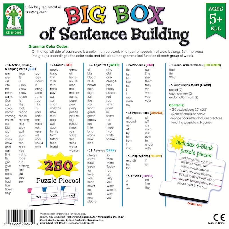 Big Box of Sentence Building — Настольные игры для ...